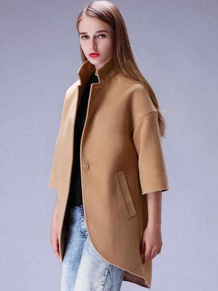 Women's Cocoon Coat Half Sleeve 1-Button Stylish Long Tweed Coat фото
