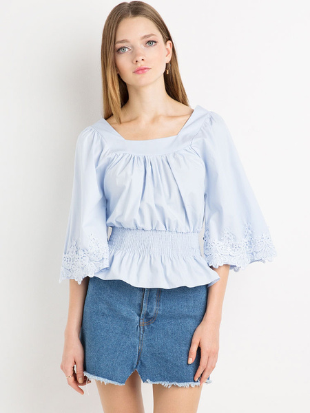 Women's Blue Blouses Lace Flare Sleeve Ruffled Slim Fit Top фото