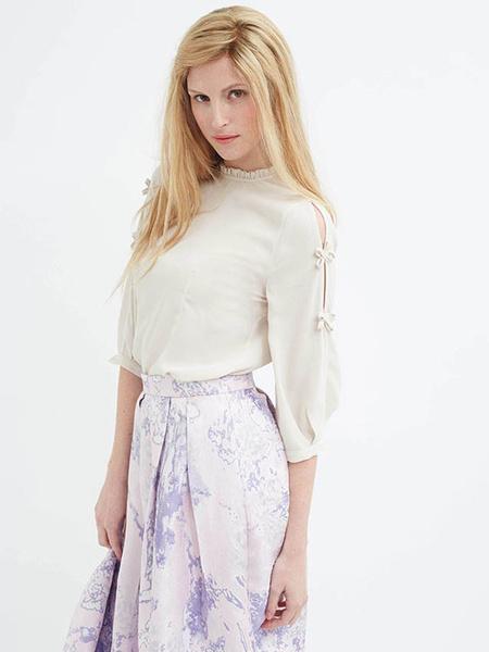 Women's White Blouses 3/4-Length Sleeve Bows Ruffled Collar Casual Top Milanoo