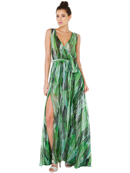 Green Maxi Dress Floral Print V-neck Sleeveless Slit Women's Long Chiffon Dress