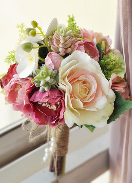 Succulent Wedding Bouquet Pearl Hand Tied Silk Flower Bridal Bouquet