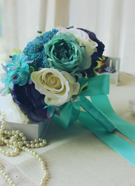 Wedding Flower Bouquet Blue Ribbon Hand-tied Silk Flower Bridal Bouquet фото