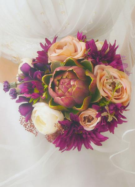 Bridal Flower Bouquet Ribbon Hand-tied Silk Flower Wedding Bouquet