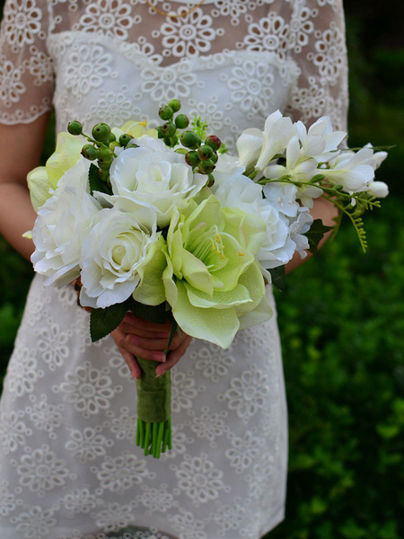 Wedding White Bouquet Cascade Lace Ribbon Silk Flower Bridal Bouquet