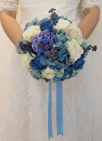 Blue Wedding Bouquet Rose Ribbons Gorgeous Silk Bridal Flowers