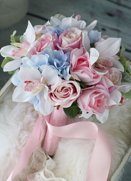 Wedding Flowers Bouquet Pink Blue Lace Ribbons Round Bridal Silk Flowers