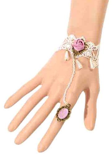 Gothic Lolita Armband mit weiße Spitze und Blumen