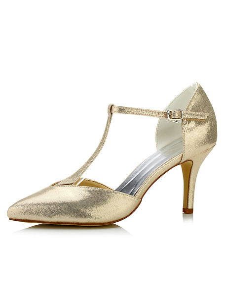 Champagne Wedding Shoes High Heel Leather T-Type Bandage Pointed Toe Bridal Shoes фото