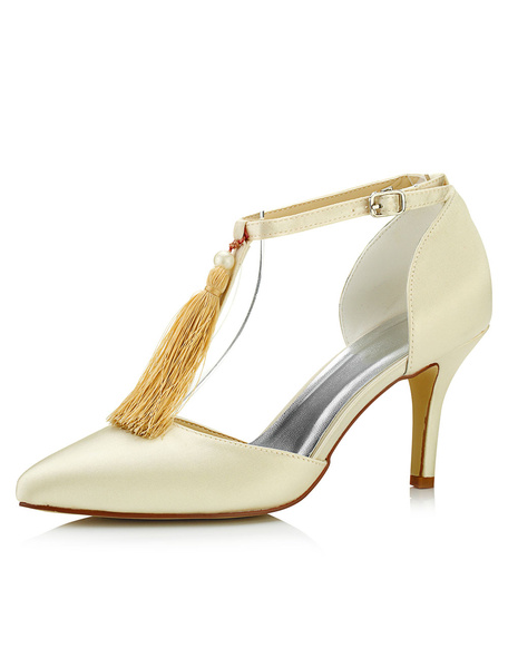 Leather Wedding Shoes High Heel Tassels T-Type Bandage Pointed Toe Champagne Bridal Shoes фото