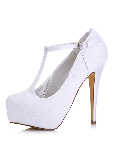 Chaussures plateforme de mariée en satin blanc unicolore à talons aigus T-bracelet