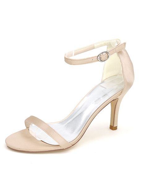 White Wedding Shoes High Heel Sandals Ankle Strap Open Toe Bridal Shoes 532f01e66