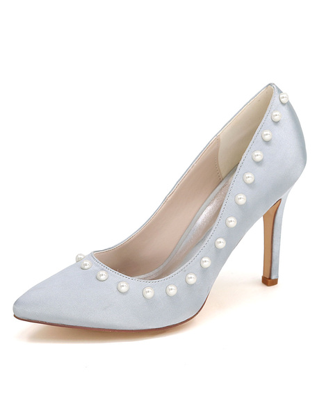 Silver Wedding Shoes High Heel Pearl Satin Slip-On Bridal Shoes фото
