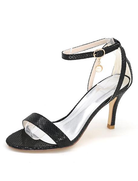 Schwarze High Heels Schlange Print Ankle Strap Perle Frauen Sandalen