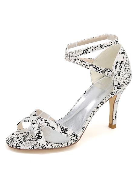 Weißen High Heels Schlange Print Kreuz vorne Ankle Strap Frauen Sandalen