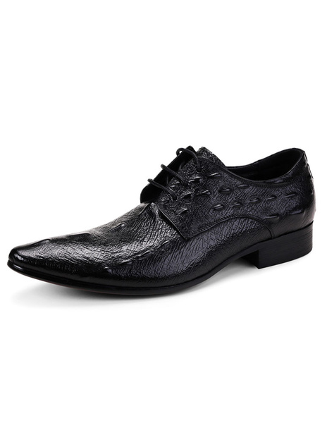 Black Dress Shoes Men's Cowhide Pointed Crocodile Pattern Lace-up Leather Shoes фото