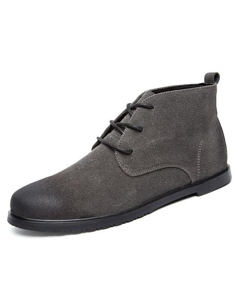 Мужские ботинки круглым носком потертой зашнуровать короткие сапоги
