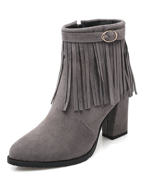 Black Bohemian Boots Fringe Suede Women's Pointed Toe Chunky Heel Zipper Short Boots фото