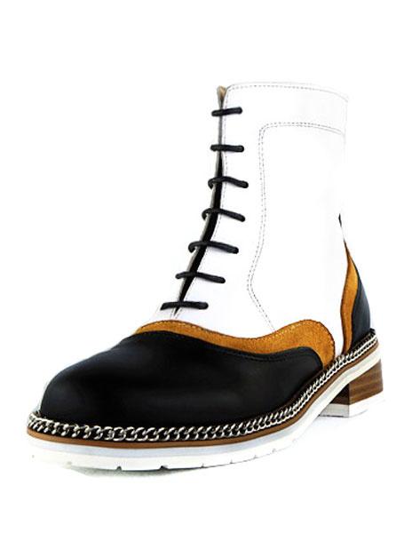 Круглый кожаный Мартин сапоги мужской носок двухцветная цепь зашнуровать короткие сапоги