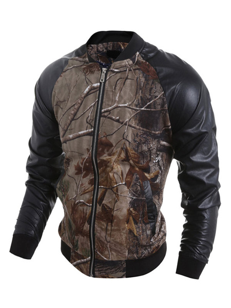 Men's Bomber Jacket Brown Casual Long Sleeve Printed Jacket With Zipper