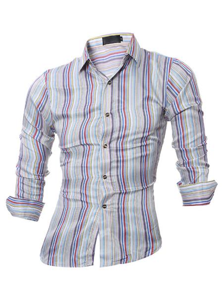 Men's Plaid Shirt Long Sleeve Casual Cotton Shirt In Gray Milanoo