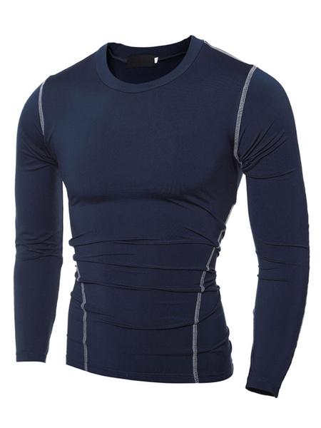 Sports T Shirt Long Sleeve Round Neck Men's Cotton T Shirt фото