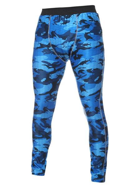 Мужские спортивные брюки тощий камуфляж напечатано узкие длинные брюки серый/синий
