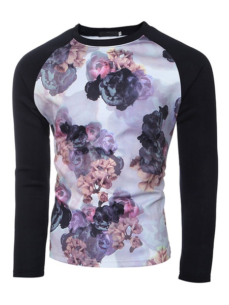 Printed T Shirt Men's Long Sleeve Round Neck Cotton Tshirt In Black/Lavender