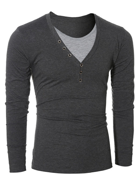 Men's T Shirt Long Sleeve V Neck Slim Fit Cotton T Shirt In Gray/Black фото