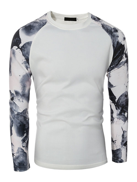 Printed T Shirt Long Sleeve Round Neck Men's Cotton Tshirt