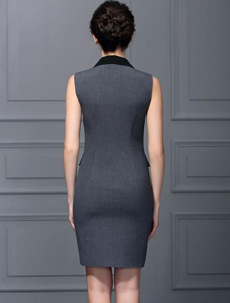Milanoo / Sin mangas Formal OL trabajo vestido gris Breasted doble V profunda cuello delgado lápiz rodilla lon