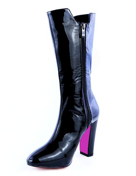 Black Heeled Boots Knee High Chunky Heel Zipper Round Toe Women's High Boots фото