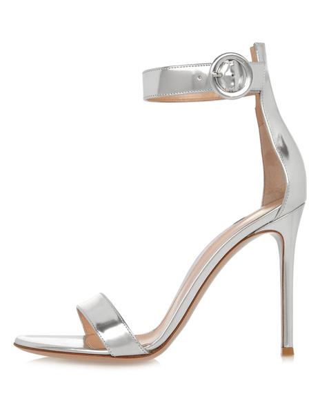 Sandali da sposa argento tacco alto alla caviglia cinturino punta aperta Stiletto Scarpe da sera