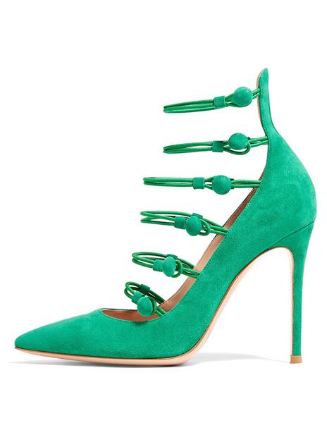 Exquises chaussures à talons à talons aigus en micro daim vert unicolore fait main avec bouton en cu