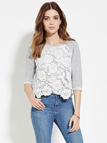 Half Sleeve T-shirt Women's Lace Patchwork Ruffled Casual Tops фото