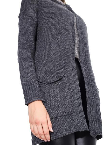 Milanoo / Lange Ärmel Pullover Frauen tief graue Baumwolle Kapuzen-Strickjacke