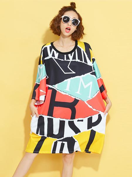 Plus Size Dress Short Printed 3/4-Length Sleeve Multi-color Oversized T-shirt Dress фото