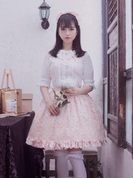 Classic Lolita Dress Lace Bows Printed Elsa Tiered Pink Lolita Skirt фото