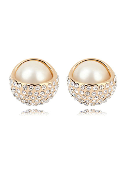 Vintage Wedding Earrings Gold Round Alloy Pierced Stud Bridal Earrings