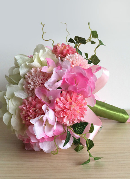 Wedding Flower Bouquet Pink Ribbons Hand Tied Silk Flower Bridal Bouquet