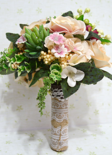Succulent Wedding Bouquet Silk Flowers Hand Tied Multicolor Rose Bridal Bouquet