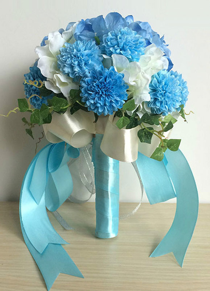 Wedding Flower Bouquet Blue Ribbons Silk Hand Tied Bridal Bouquet With Bows
