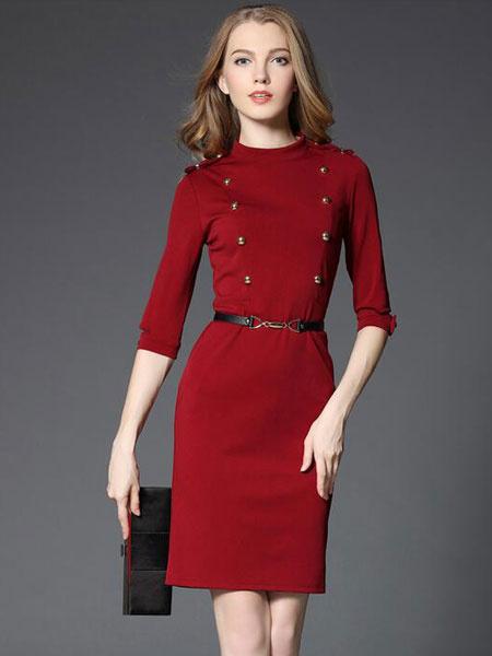 Red Bodycon Dress Women's Half Sleeve Crew Neck Sheath Dress With Belt & Buttons