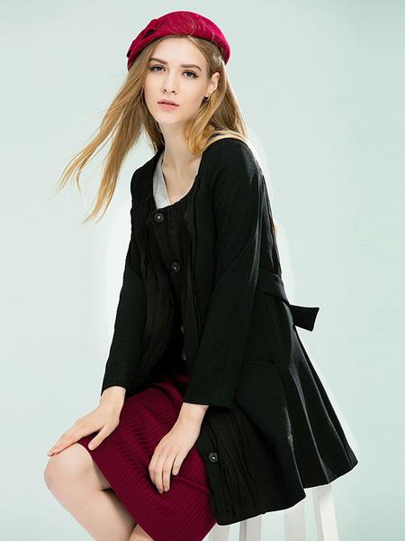 Women's Black Coat Jewel Neckline 3/4 Length Sleeve Pleated Adjustable Front Button Casual Outwear фото