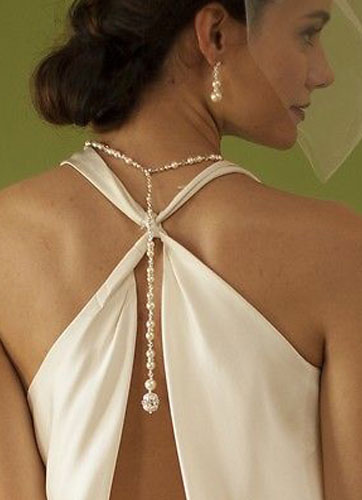 Wedding Back Drop Necklace White Pearl Bridal Jewelry фото