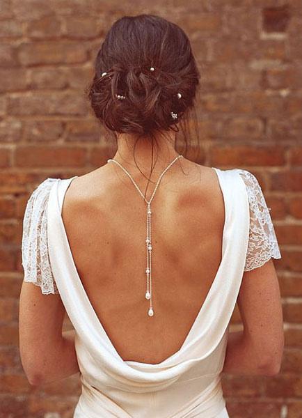 Backdrop Necklace Tie Lariat Pearl Crystal Bridal Wedding Necklace