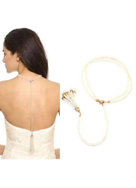 Pearl Backdrop Bridal Necklace Crystal Pearl Wedding Necklace
