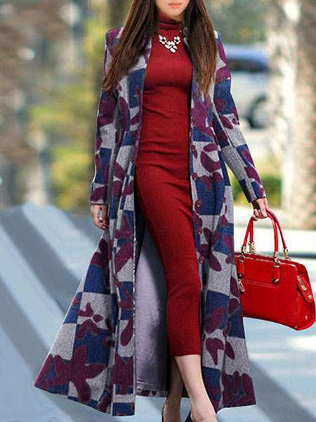Long Winter Coat Women's Stand Collar Long Sleeve Slim Fit Jacquard Wool Coat фото