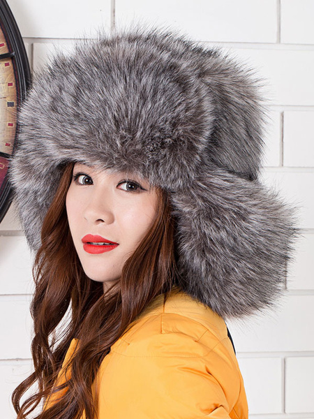 Faux Fur Hat Women's Drawstring Winter Hat фото