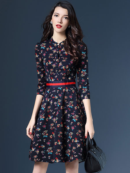 Printed Shirt Dress Long Sleeve Women's A-line Retro Style Flare Dress With Belt