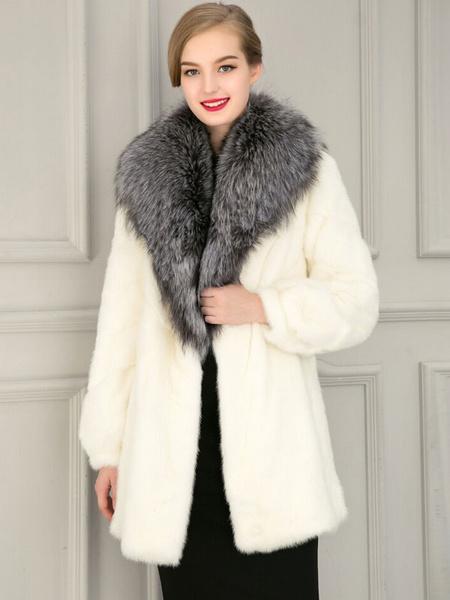 White Fur Coat Women's Fox Fur Collar Long Sleeve Hook And Eye Medium Length Winter Coat